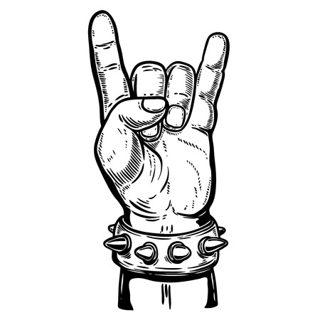 Hand drawn human hand with rock and roll sign. Design element for poster, emblem, sign, t shirt. Vector illustration Illustration