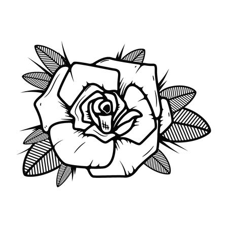 白い背景にタトゥースタイルのバラのイラスト。ロゴ、ラベル、エンブレム、記号のデザイン要素。ベクトルイラスト  イラスト・ベクター素材