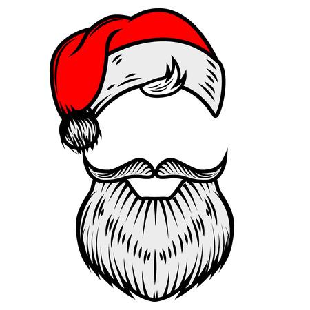 산타 클로스 수염과 모자입니다. 포스터, 카드 디자인 요소입니다. 벡터 일러스트 레이 션