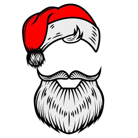 Santa Claus beard and hat. Design element for poster, card. Vector illustration Vettoriali