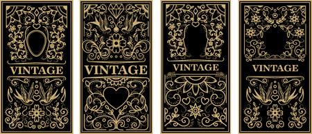 Vintage frames in golden style on dark background. Vector design element Illustration