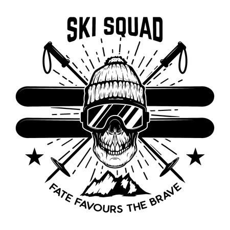 Ski squad. Extreme skull with skis. Design element for emblem, sign, label, poster. Vector illustration Stock Illustratie