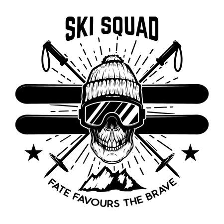 Ski squad. Extreme skull with skis. Design element for emblem, sign, label, poster. Vector illustration Illustration