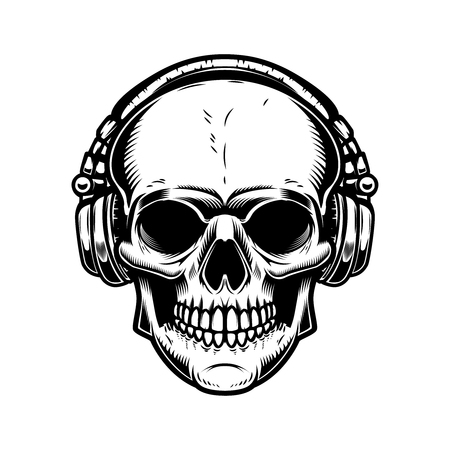 Skull with headphones Design element for poster, emblem, sign, t shirt. Vector illustration Stock Illustratie