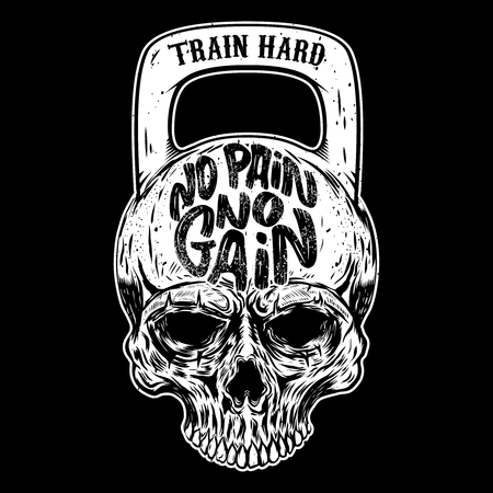No pain no gain. Train hard. Skull in the form of a weight. Vector design element 版權商用圖片 - 91339319