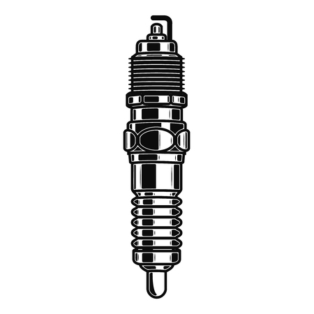 Spark plug illustration isolated on white background. Design element for emblem, sign, poster, label. Vector illustration