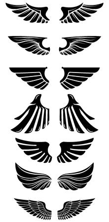 Reihe von Flügeln Icons. Gestaltungselemente für Logo, Etikett, Emblem, Zeichen. Vektor-illustration Standard-Bild - 91338200