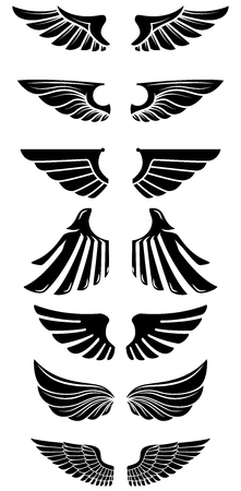 Set of wings icons. Design elements for logo, label, emblem, sign. Vector illustration
