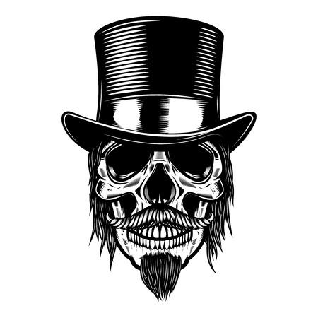 Zombie skull in vintage hat. Design element for poster, emblem, sign, t shirt. Vector illustration Ilustração