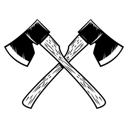 Gekruiste houthakkersassen die op witte achtergrond worden geïsoleerd. Ontwerpelement voor poster, embleem, teken, banner. Vector illustratie