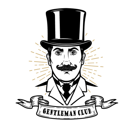 Gentleman club. Man head in vintage hat. Design element for , label, emblem, sign, poster, label. Vector illustration