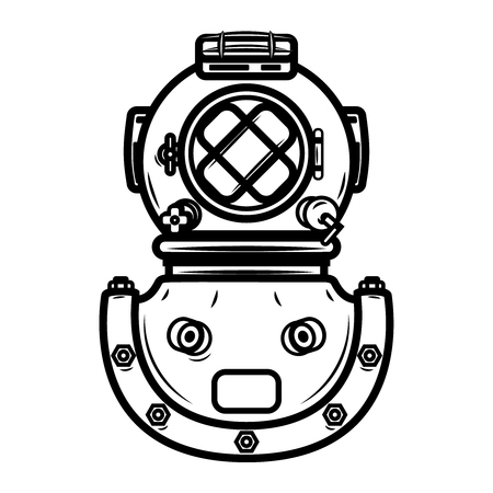Vintage diver helmet. Design element for label, emblem, sign. Vector illustration
