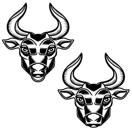 Bull head illustration isolated on white background. Design element for emblem, sign, poster, label. Vector illustration
