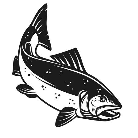 흰색 배경에 고립 연어 물고기 아이콘입니다. 레이블, 엠 블 럼, 기호 디자인 요소입니다. 벡터 일러스트 레이 션