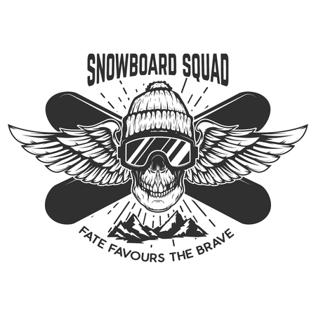 Snowboarding squad. Extreme skull with snowboards.  Design element for emblem, sign, label, poster. Vector illustration