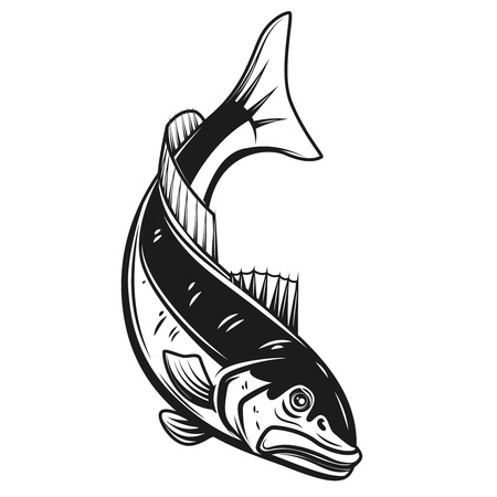 Codfish icon isolated on white background. Design element for label, emblem, sign. Vector illustration Vettoriali