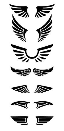 Set of wings icons. Design elements for label, emblem, sign. Vector illustration