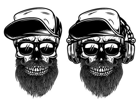Ludzkie czaszki z okularami przeciwsłonecznymi, czapką z daszkiem i słuchawkami. Element projektu etykiety, godła, znaku. Ilustracji wektorowych