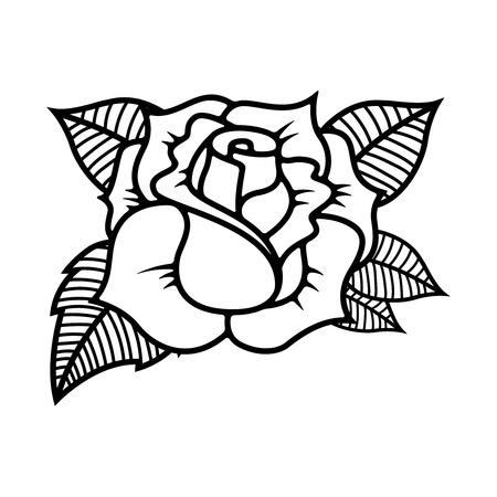 Tattoo style rose illustration on white background. Design elements for label, emblem, sign. Vector illustration
