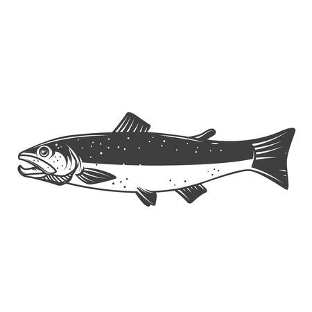 Salmon fish icon isolated on white background, Design element for logo, label, emblem, sign.