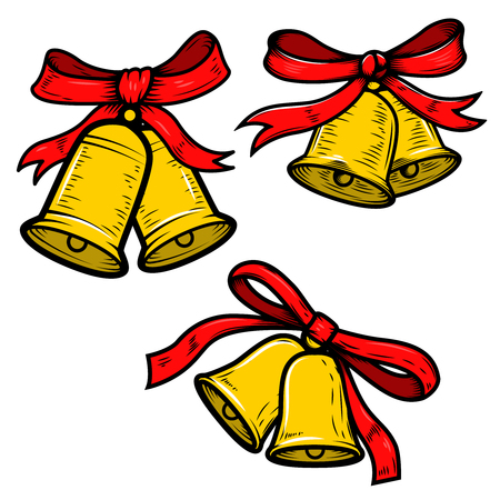 Set of Christmas bells illustrations on white background. Design elements for poster, card, banner. Vector illustration