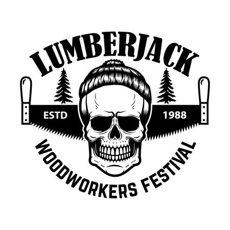 Lumberjack emblem. Skull with hand saw. Design element for , label, emblem, sign. Vector illustration
