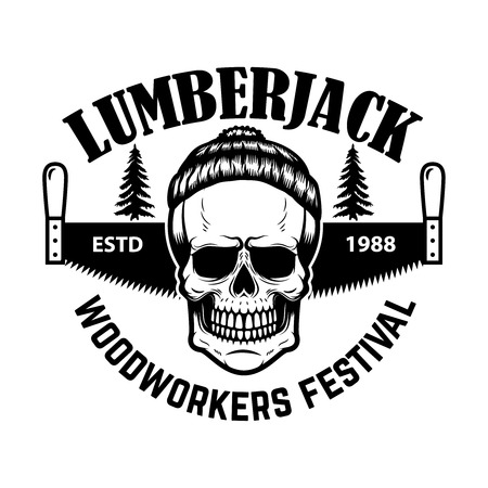 Lumberjack emblem. Skull with hand saw. Design element for , label, emblem, sign. Vector illustration