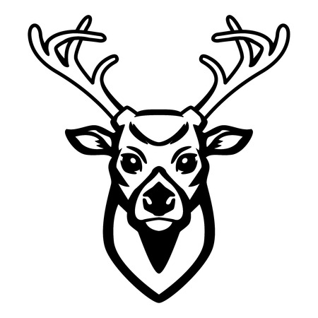 Deer icon isolated on white background, design element for label, emblem, sign.