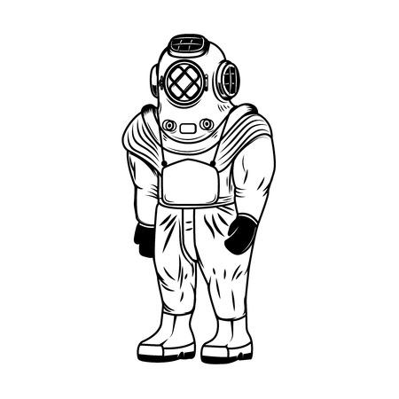 Illustration des Weinlesetaucherkostüms lokalisiert auf weißen Hintergrund Gestaltungselementen für Aufkleber, Emblem, Zeichenillustration Standard-Bild - 91751041