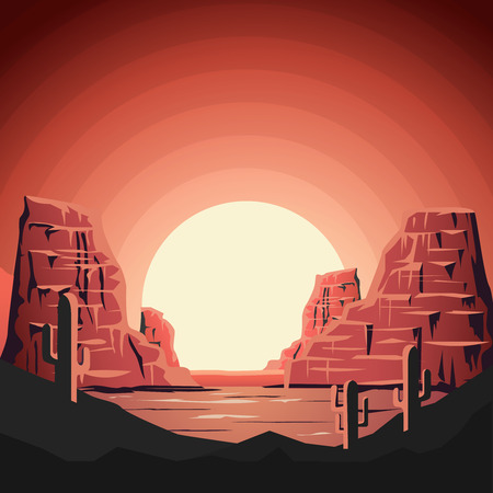 Landscape of desert with mountains in flat style. Design element for poster, banner.
