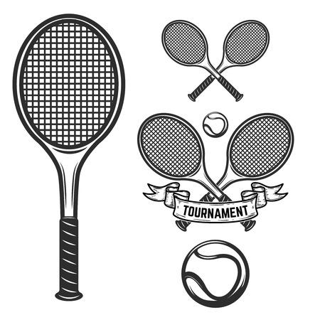 Set of tennis design elements for label, emblem, sign illustration.