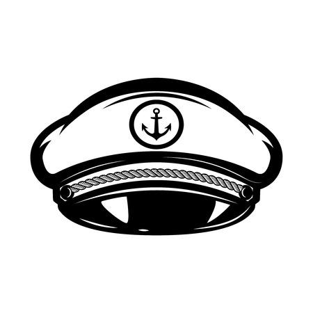 白い背景に隔離された海の船長の帽子、ラベル、エンブレム、記号のためのデザイン要素。  イラスト・ベクター素材