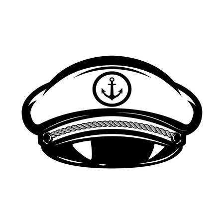 Hat of sea captain isolated on white background, Design elements for label, emblem, sign.