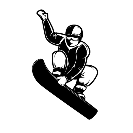 Snowboarder illustration isolated on white background, Design element for emblem, sign, label, poster illustration.