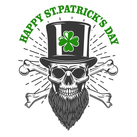 Happy saint patrick day. Irish Leprechaun skull with clover. Design element for poster, t-shirt, emblem, sign. Vector illustration Çizim