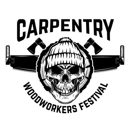 Lumberjack emblem, Skull with hand saw, Design element for label, emblem, sign illustration. Zdjęcie Seryjne - 91751142