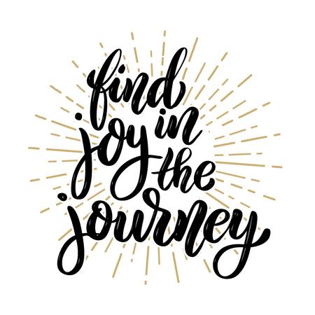 旅の喜びを見つけてください。手描きの動機レタリング引用。ポスター、バナー、グリーティングカードのデザイン要素。ベクトルイラスト 写真素材 - 91749552