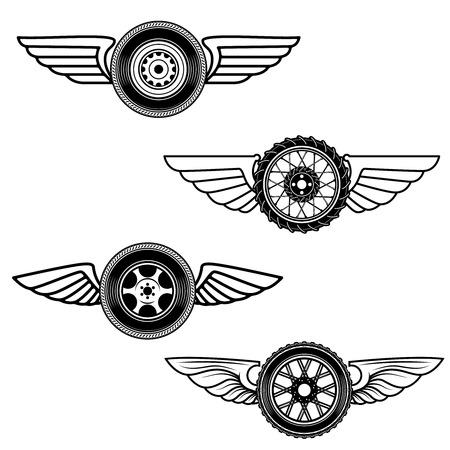 Set of winged wheels. Design element for label, emblem, sign. Vector illustration Illustration