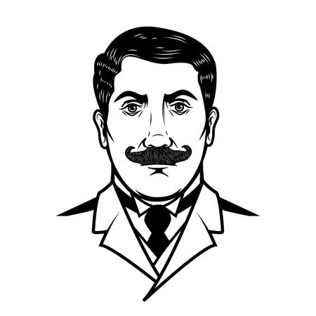 illustration of gentleman isolated on white background. Design element for emblem, sign, poster, banner. Vector illustration