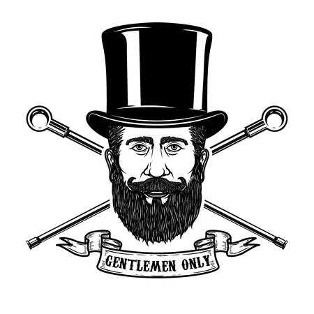 Bearded gentleman head in vintage hat. Design elements for poster, emblem, sign, label. Vector illustration