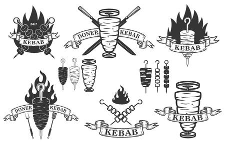 doner 케밥 엠 블 럼의 집합입니다. 로고, 레이블, 엠 블 럼, 기호에 대 한 디자인 요소입니다. 벡터 일러스트 레이 션 일러스트