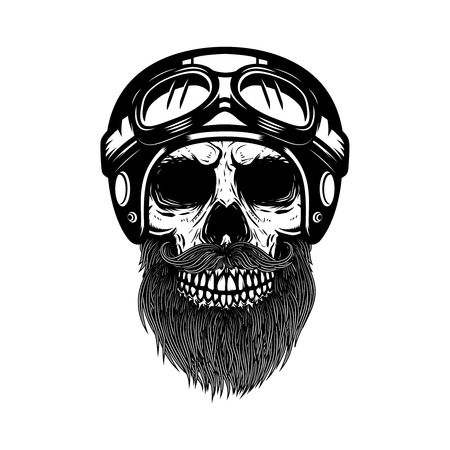 Bearded skull in racer helmet. Design element for label, emblem, sign, poster, banner. Vector illustration