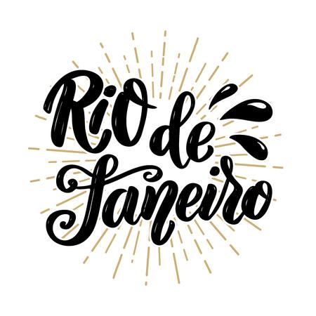 Rio de Janeiro. Hand drawn lettering phrase. Vector illustration