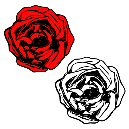 Rose illustration in tattoo style. Design element for logo, label, emblem, sign, banner, poster. Vector illustration Illustration