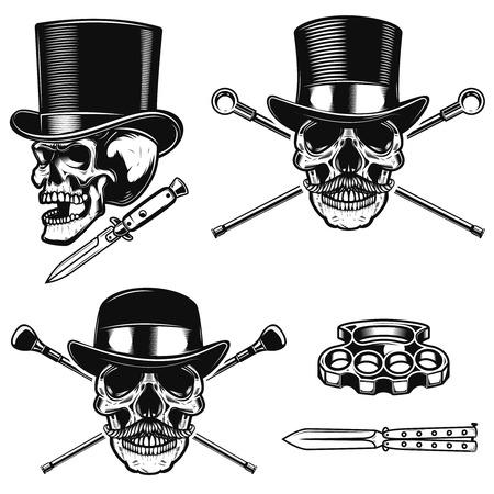 Set of gentleman skull in vintage hats. Design element for poster, emblem, sign, t shirt. Vector illustration  Çizim