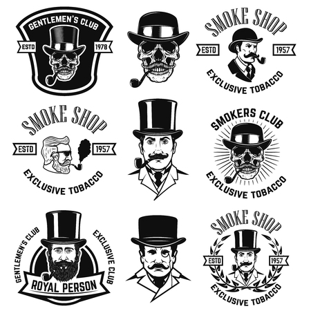 Set of smokers club emblems. Vintage gentlemans portraits with smoking pipes. Design element for logo, label, emblem, sign, poster, banner. Vector illustration