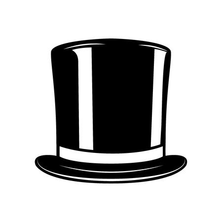 Vintage gentleman hat isolated on white background. Top hat. Design element for label, emblem, sign. Vector illustration