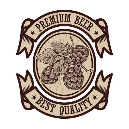 Beer label template with hand drawn hop in engraving style. Design element for poster, emblem, icon, sign. Vector illustration. Ilustração
