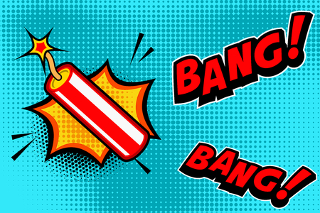 ダイナマイトスティック爆発と漫画本スタイルの背景。バナー、ポスター、チラシのデザイン要素。ベクトルイメージイラスト。