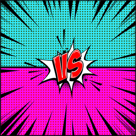 Empty comic book style background. Versus illustration. Design element for banner, poster, flyer. Vector image illustration. Illustration